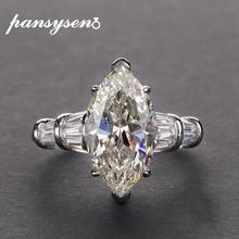 PANSYSEN יוקרה Moissanite אירוסין טבעות לנשים חדש עיצוב Mariquesa חיתוך 925 סטרלינג כסף תכשיטי טבעת תכשיטים