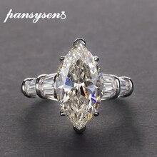 PANSYSEN luksusowe Moissanite obrączki dla kobiet nowy projekt Mariquesa cięcia 925 srebro biżuteria pierścień Fine Jewelry