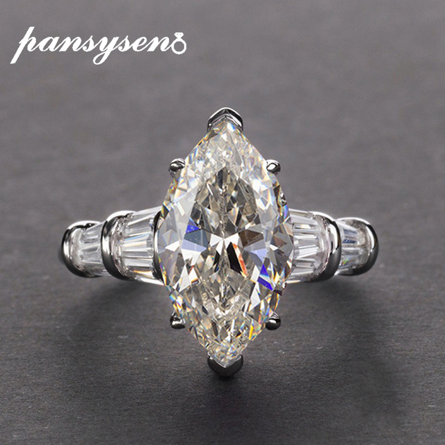 Pansysen高級婚約指輪女性新デザインmariquesa切断 925 スターリングシルバージュエリーリングファインジュエリー