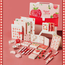 Kawaii Strawberry Meets PP Loose-leaf and Paper Tape Information Booklet Small Fresh Girl Heart Cute Gel Pen Cute Learning Set