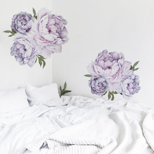 цена на Purple Peony Wall Stickers Bedroom Flower Wall Decals Removable Self-adhesive Vinyl Sticker for Wall Home Decoration