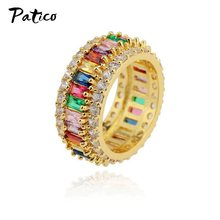 Korean Style Dainty Rainbow Ring Colorful Multi Color CZ Eternity Square Finger Gold Ring Women Females Jewelry Accessory(China)
