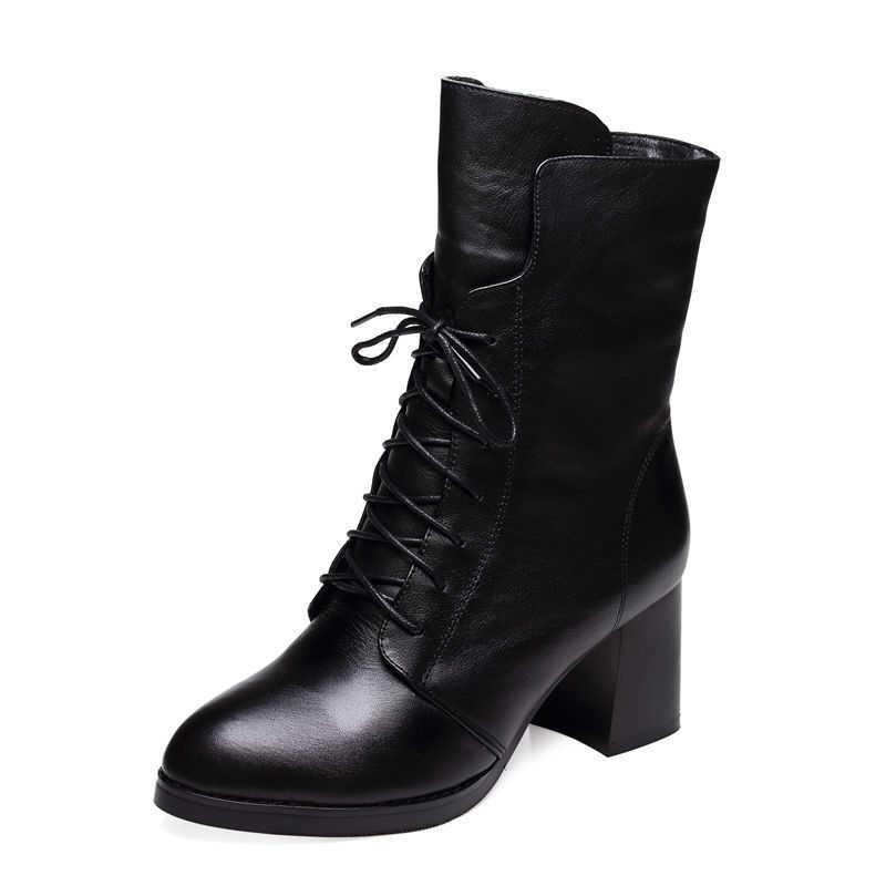 Orta buzağı yüksek topuklu martin çizmeler kısa siyah dantel-up kısa motosiklet botas kadın kış sivri burun yan fermuar sürme patik
