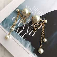 High quanity  popular style pearl tassel indian jewelry c letter korean fashion drop dangle earrings