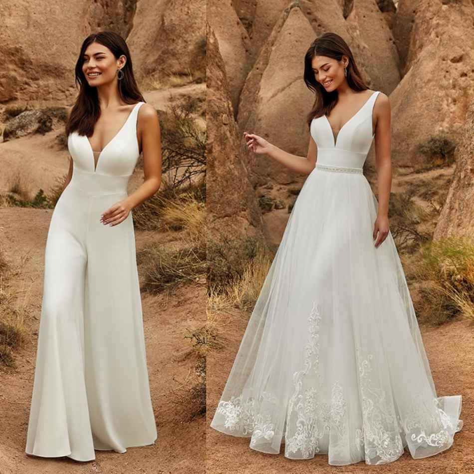 Overalls Hochzeit Kleider Mit Abnehmbaren Rock Perlen Spitze