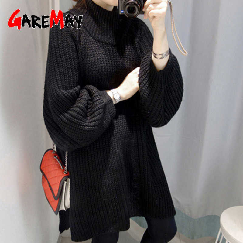 GareMay, Осень-зима, вязаный свитер, платье для женщин, теплый, водолазка, сексуальный, свободный, для беременных, макси, плюс размер, для женщин, для девушек, длинный свитер