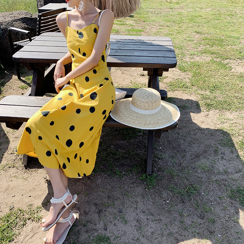 Model Photo Shoot Vacation Style Polka Dot Camisole Elegant Seaside Bali Beach-Style Base Long Dress