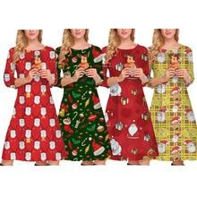 купить Autumn Winter Christmas Dress 2019 New Year Festival Family Party Dress Women Snowflake Print Dress Vestidos Plus S-XL по цене 565.99 рублей