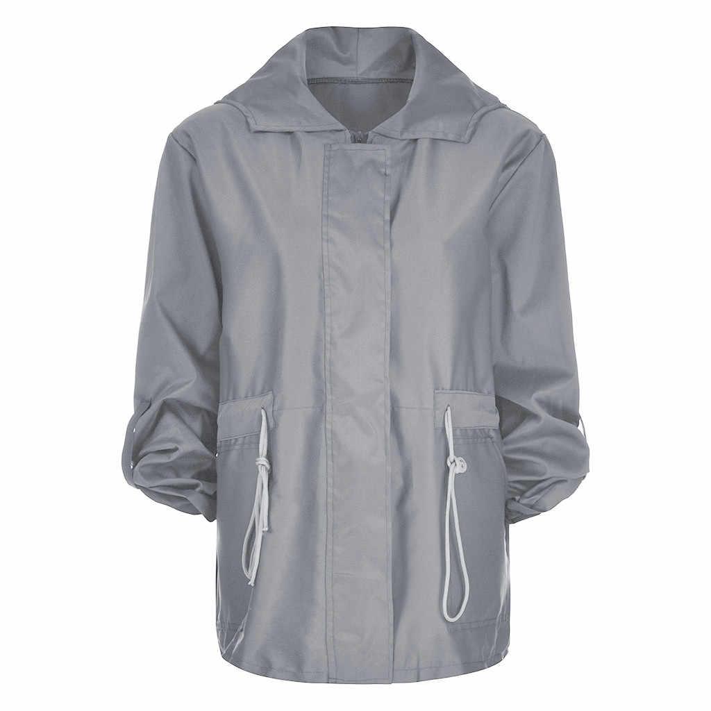 Mode Hooded Vrouwen Dames jas jas Solid Herfst Winter Windcoat Regenjas bomberjack vrouwen Casual uitloper campera mujer