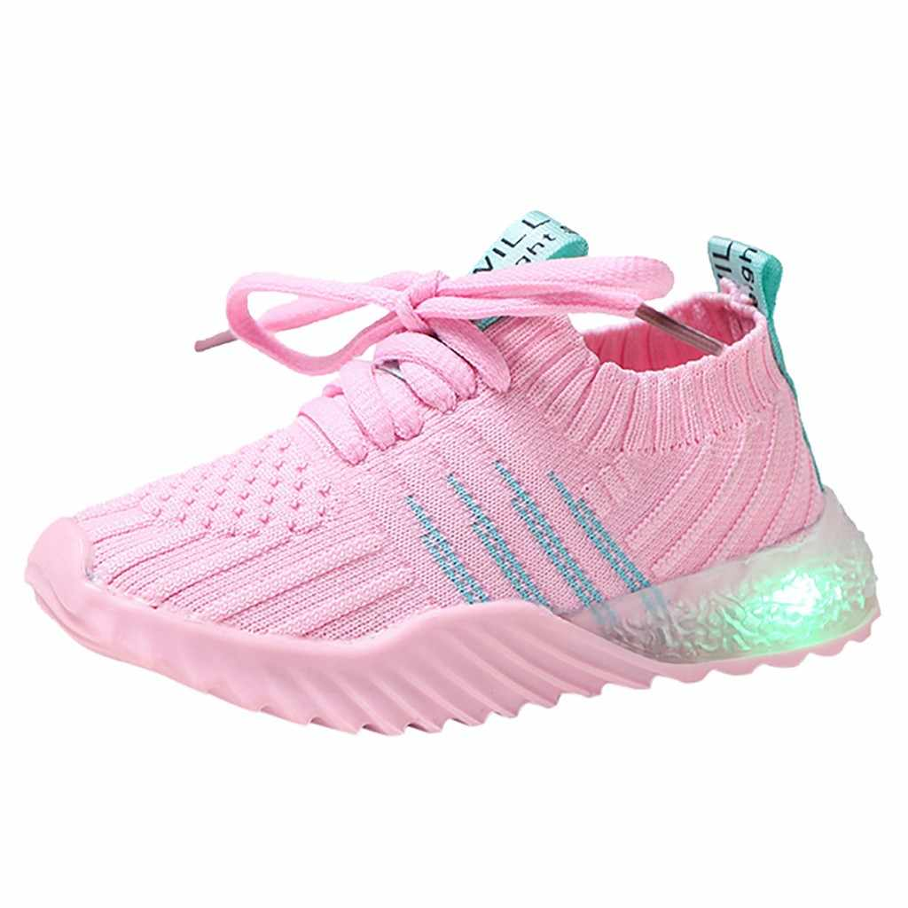 2019 New Fashion Children Kid Baby Girls Boys Candy Color Led Luminous Sport Run Sneakers Shoes Anti-slip baby shoes