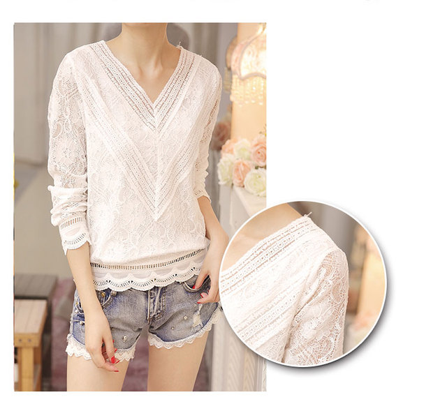New Arrived Autumn Fashion Women Blouse Long Sleeved Lace Women Top Lace Bottoming Blouses Causal Slim Fit Shirts Blusa 0943 40 4