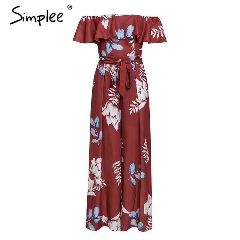 Simplee czeski kwiatowy print kobiety kombinezon elegancki off ramię szarfy panie długi kombinezon lato potargane kobiet playsuit