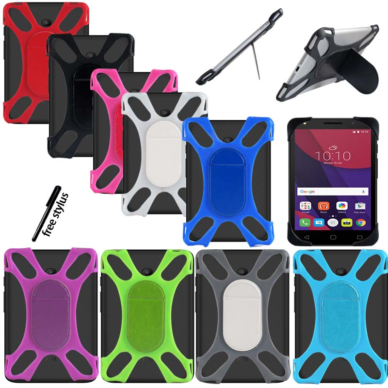 KK&LL For Alcatel Pixi 4 7 Inch - Tablet Shockproof Silicone Stand Cover Case + Stylus