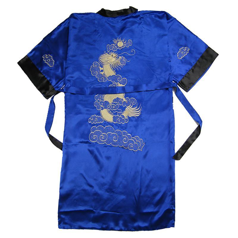 Бордовый черный Для мужчин новинка Дракон Повседневное высокое качество одежда с вышивкой свободное кимоно халат мягкие пижамы пеньюар - Цвет: Royal Blue Black