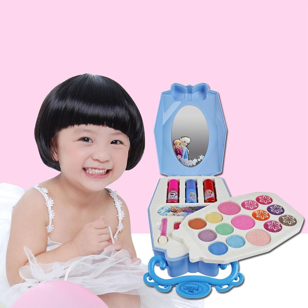 Disney Girls Frozen Snow Princess Beauty Makeup Toys With Box Nail Polish Eyeshadow Blush Play Makeup Fashion Toys
