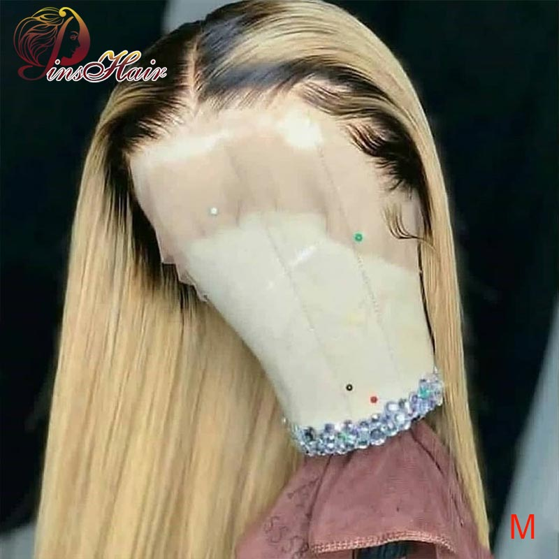 Brazilian Full Lace Human Hair Wig Pinshair Ombre Blonde Lace Front Wigs T1B/613 Full Lace Wigs Non-remy Hair 150 With Baby Hair