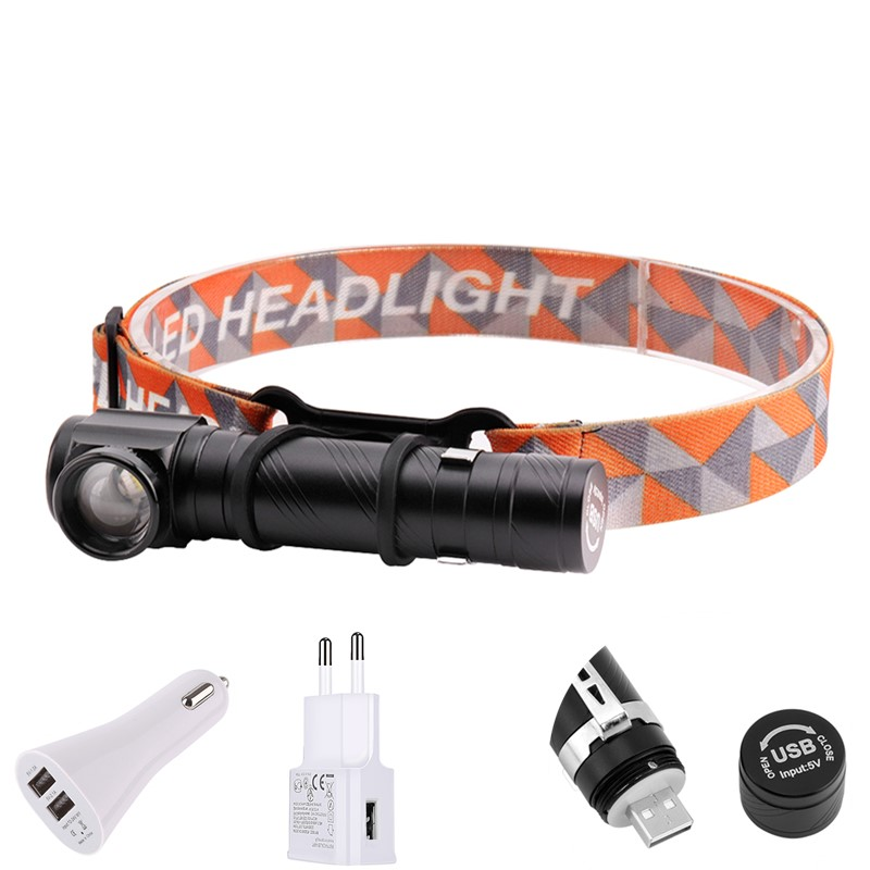 BORUiT T6 LED 3000LM Headlamp 4-Mode Rechargeable Headlight Built-in Battery Flashlight With Magnet Camping Hunting Head Torches