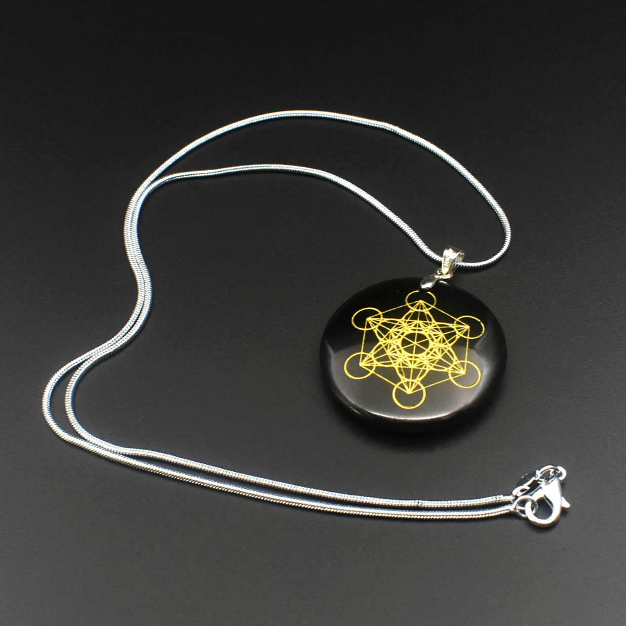 925 高品質天然石クォーツペンダント振り子フラワー · オブ · ライフペンダント 7 チャクラ pendule orgonite ne