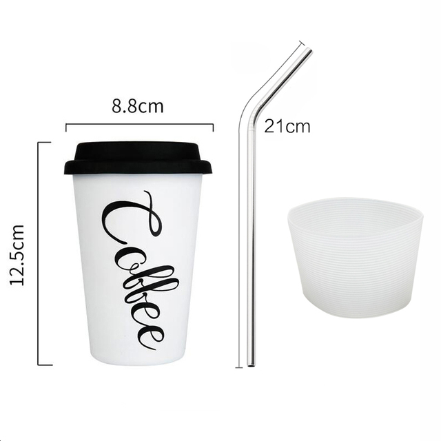 Stainless Steel Cups with Lid Straw Cup Sleeve 450ML Metal Drinking Mugs Coffee Mug Food Grade Cups BPA Free for Children Adults 2