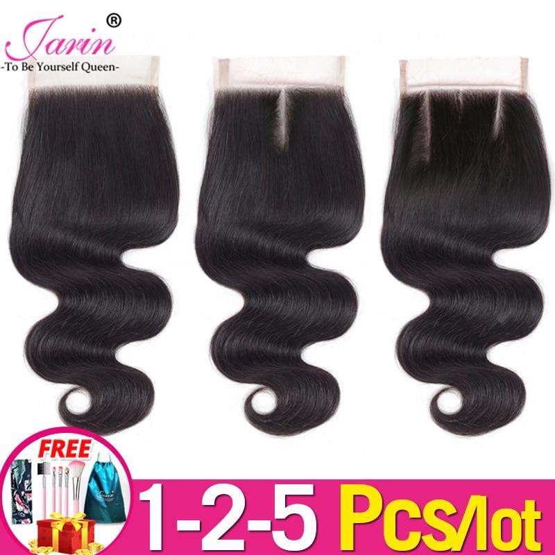 1-2-5 Pcs/Lot 4x4 dentelle fermeture vague de corps avec des cheveux de bébé couleur naturelle pour les femmes noires extension de cheveux humains livraison gratuite Jarin