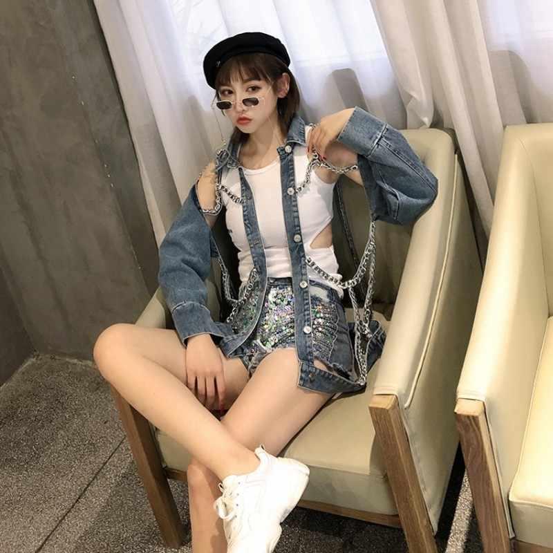 Punk Rock Chain Denim Chaquetas mujeres agujero ahuecado manga larga Hip Hop chaquetas de jeans 2020 nuevas señoras moda Streetwear