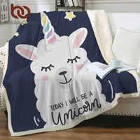 BeddingOutlet unicornio Alpaca mantas Sherpa Llama ovejas de lana manta de dibujos animados de los niños de la cama manta para el sofá manta Dropship
