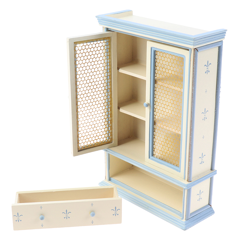1:12 Scale Dollhouse Miniature Kitchen Furniture White Cupboards Display Cabinet  Children Gift