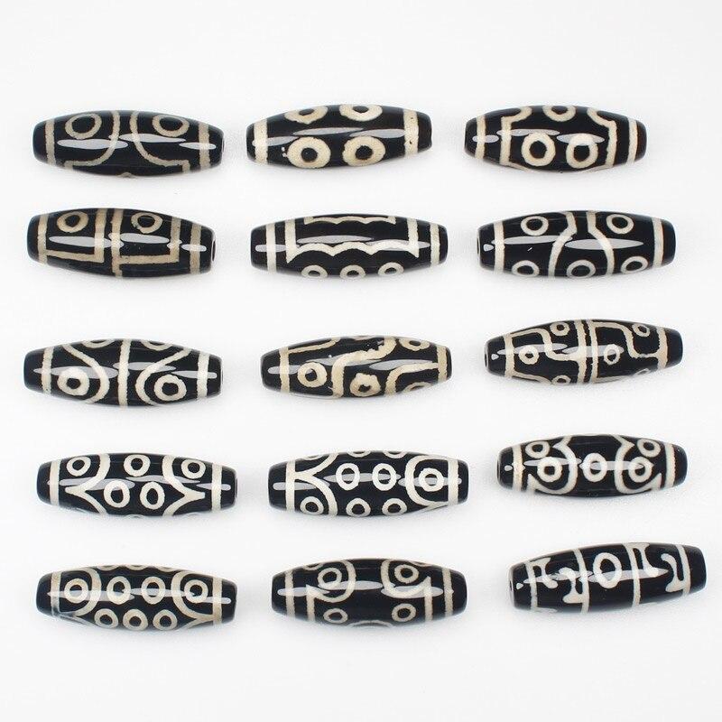 3pcs ,10X25-30mm Natural Tibet Black Dzi Agate Oval Beads  , For DIY Necklace Bracelat Jewelry Making !