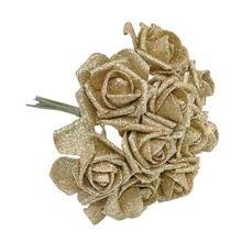 10 шт 6 см высокое качество золото серебро блестящая пена роза