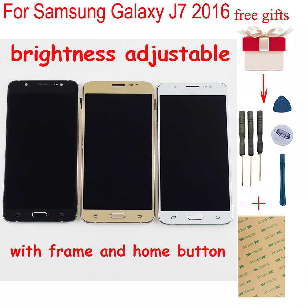 สำหรับ Samsung Galaxy J7 2016 LCD Touch J710FN จอแสดงผล LCD หน้าจอสัมผัสสำหรับ Samsung J710 SM-J710F J710M J710H พร้อมกรอบ