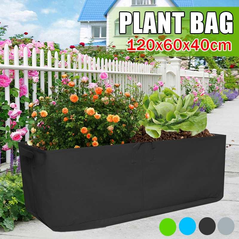 Grow Bag 120x60x40cm Garden Bed Anti-Corrosion Outdoor Vegetable Planter Non-woven Fabric Seedling Gallon Tree Handle Rectangle