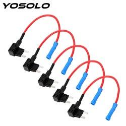 YOSOLO 5 sztuk/zestaw APM Tap Mini ostrze Micro add-a-circuit Adapter 12V bezpiecznik samochodowy uchwyt skrzynki ATM Adapter Auto Motri ubezpieczenia
