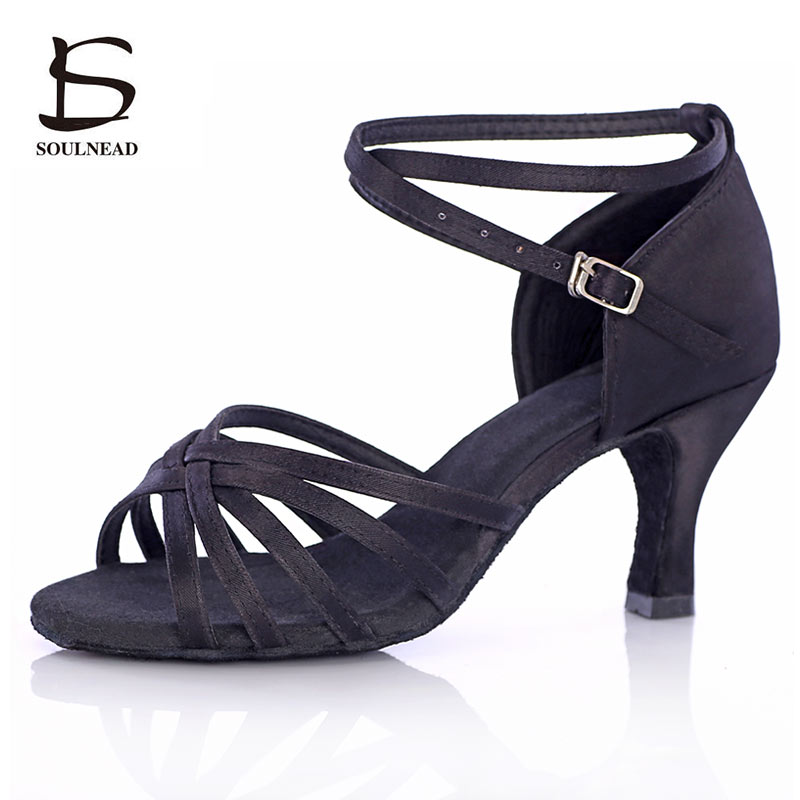 Salsa Latin Dance Shoes For Women Girls Tango Ballroom Dance Shoes High Heels soft Dancing Shoes 5/7cm Ballroom Dance Sandals image
