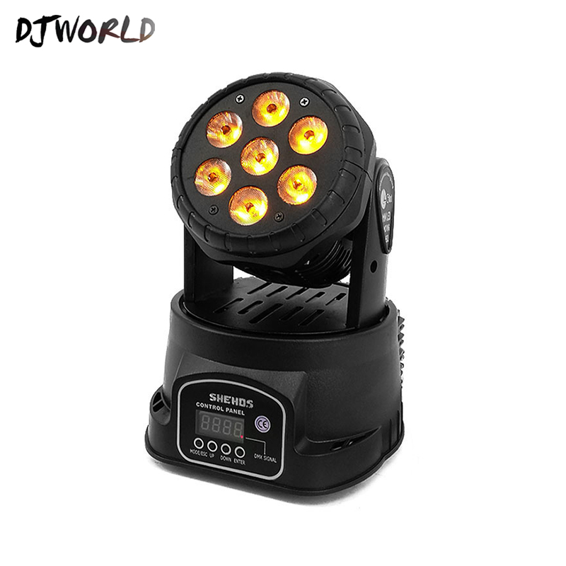 Image 2 - Djworld LED 7X18W Wash Light RGBWA+UV 6in1 Moving Head Stage Light DMX Stage Light DJ Nightclub Party Concert Stage Professional-in Stage Lighting Effect from Lights & Lighting on
