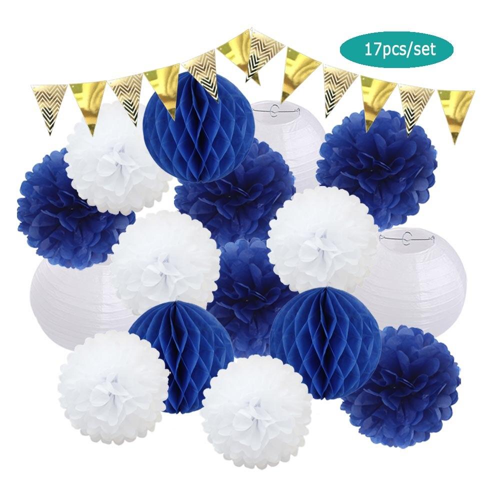 Помпоны Mi Primera Comunion из королевской синей ткани, украшение 8 дюймов, фонарь, золотой, серебряный баннер, подарок для детей на день рождения