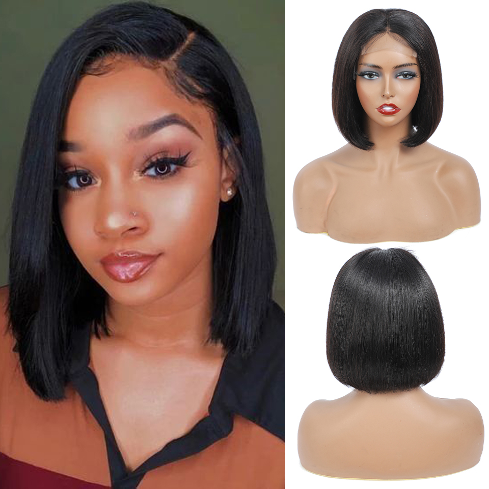 Hightlight Hair 4X4 Closure Wig With Baby Hair  Straight Lace Front  Wigs Black Women Deep Wave Closure Wig 1
