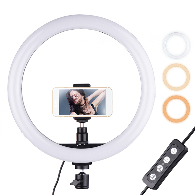 """30cm/12"""" Outer Photography LED Selfie Ring Light lamp 2700 5500K Dimmable With Phone Holder For Makeup Video Live Studio Light"""