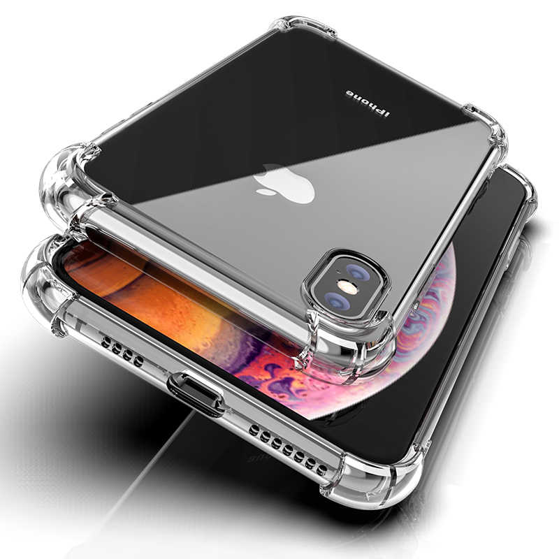 Luxury Shockproof Silicone Phone Case For iPhone 7 8 6 6S Plus 7 Plus 8 Plus X XS Max XR Case Transparent Protection Back Cover