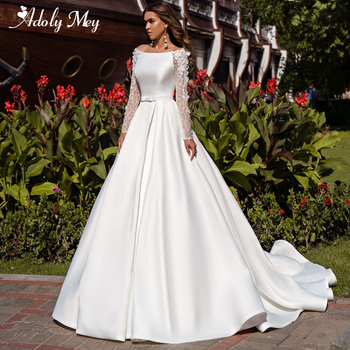 New Arrival Scoop Neck Backless Satin Court Train A-Line Wedding Dresses 2020 Lace Long Sleeve Beaded Flowers Vintage Bride Gown