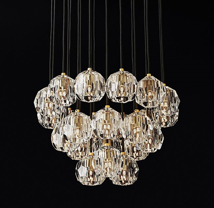 American RH Retro Lustre Crystal Shades Pendant Lamp G4 Led Pendant Light Indoor Suspend Lamp For Living Room|Pendant Lights| |  - title=