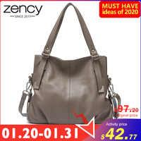 Bolso de hombro Zency para mujer hecho de cuero genuino bolso de mano negro clásico alta calidad Hobos Charm Lady Crossbody bolsos gris