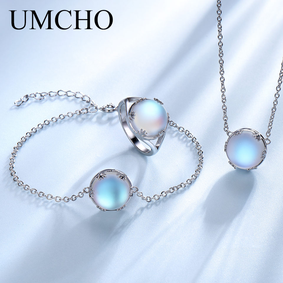 UMCHO Colorful Aurora Crystal Ring Necklaces Bracelet Rings 925 Sterling Silver Jewelry Sets For Women Wedding Party Jewelry Set