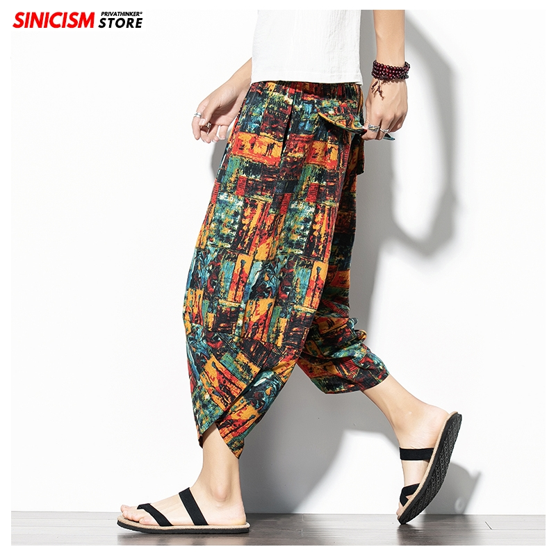 Sinicism Store Men Print Chinese Style Summer Casual Pants Mens 2020 Cotton Linen Loose Trousers Male Oversize Toursers Pants