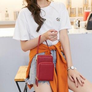 Image 5 - Bolsa feminina crossbody saco do telefone zíper impermeável sólido couro do plutônio saco de embreagem saco de cartão bolsa carteira esporte ao ar livre 3 camada de armazenamento