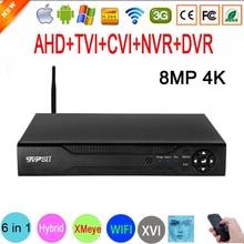 8MP CCTV מצלמה XMeye אודיו פנים זיהוי 8MP 4K Hi3531D H.265 + 4CH 8CH היברידי קואקסיאלי 6 ב 1 השישה עשר TVI CVI NVR WIFI AHD DVR