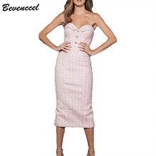 Bevenccel высокое качество vestidos женское облегающее платье Новинка без бретелек пуговицы сексуальное вечернее платье элегантное платье для клуба
