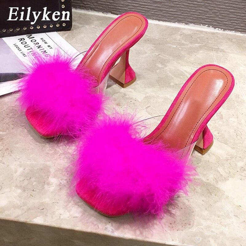 Eilyken Woman Summer New Mules Slippers Feather PVC Transparent High Heels Fur Sandals Peep Toe Spike Heel Ladies Slides Shoes