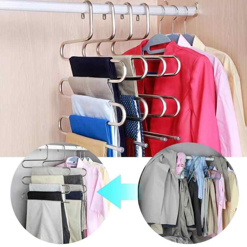 Offre spéciale en acier inoxydable pantalon cintre vêtements placard support de ceinture support 5 couches économie d'espace étagère organisateur étagère de rangement