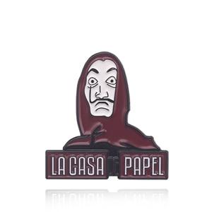2019 HOT La Casa De Papel Badge Pins Brooch The House of Paper Money Heist Salvador Dali Enamel Brooches(China)