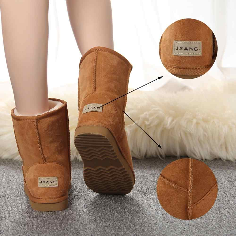 JXANG Nam Da Thật Cao cấp Chính Hãng Da Úc Cổ Điển Lông Ủng Giày Bốt Nữ mùa đông Ấm Áp cho Nữ Giày kích thước lớn